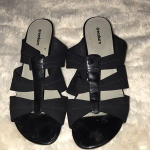 Black wedge sandals.
